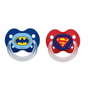 Playtex Silicone Orthodontic Super Friends Binky Pacifiers 0-6 Months+ 2 Pack Styles/Colors May Vary