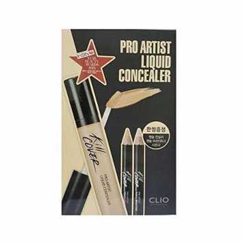 CLIO Kill Cover Pro Artist Liquid Concealer Set 03-BY Linen (with Pencil Brightener, Pencil Concealer & Sharpener Tool)