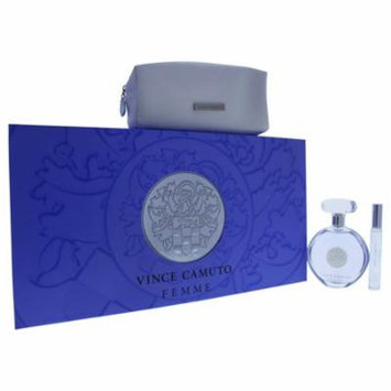 Vince Camuto Femme by Vince Camuto for Women - 3 Pc Gift Set 3.4oz EDP Spray, 0.2oz EDP Rollerball (Mini), Cosmetic Bag