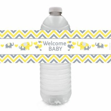Yellow and Gray Elephant Baby Shower Water Bottle Labels, 20 Count