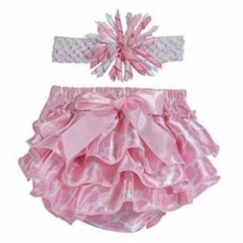 Stephan Baby Pink and White Satin Ruffled Diaper Cover and Curly Bow Headband, 6-12 Months
