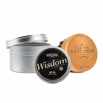 Wisdom Beard Dry Oi (beard balm) with Can You Handlebar Beard Oil Brush Set: Woodsy Scent