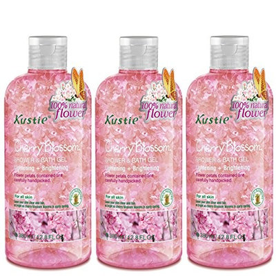 Cherry Blossom Flower Petals Body Wash - Shower and Bath Gel - Handpicked Natural Flower Petals - Essential Oil - Lightening and Brightening - Paraben Free - For All Skin (3 x 380ml /12.8 Oz)