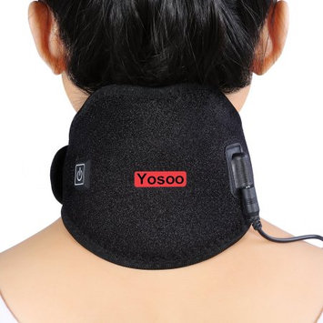Yosoo Hot Cold Therapy Heated Neck Wrap Brace Adjustable Neck Heating Pad for Headache Stiff Neck Pain Relief and Warmer with Mesh Bag for Gel Ice Pack