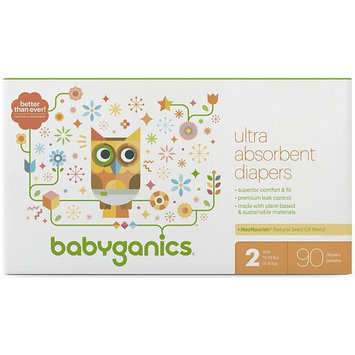 Babyganics Ultra Absorbent Diapers, Size 2 - 1 Box of 90 Diapers + Exclusive Free Gift [1 Box, Size 2]