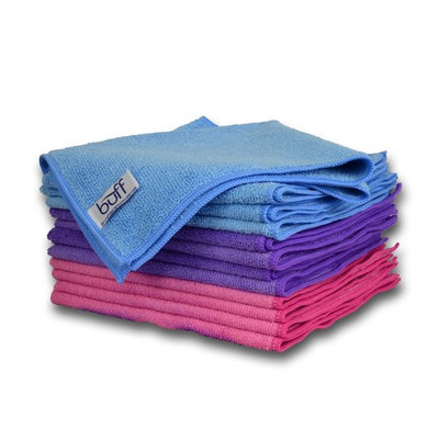 Multi-color Microfiber Towels 12 Pack by Buff Pro | Professional House-Hold Cleaning Cloths For High Quality Results | large size 16