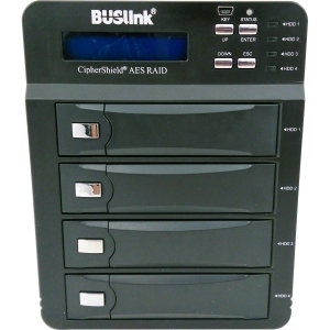 Buslink CipherShield FIPS 140-2 4-bay USB 3.0 eSATA AES 256-bit Encrypted External Drive - 4 x HDD Supported - 4 x HDD Installed - 16TB Installed HDD Capacity0, 3, 5, 10, LARGE, 3, 5, 10, LARGE - 4 x Total Bays - 4 x 3.5