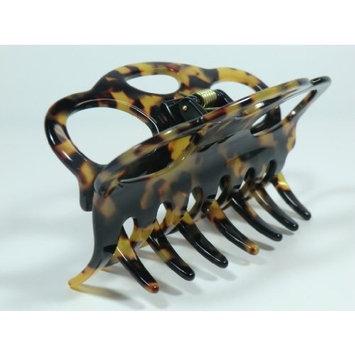 Charles J. Wahba Large Oval Cutouts Hair Claw - Tortoise Color - Handmade FRANCE