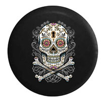 Sugar Skull Paisley with Flowers Keyhole Color with Greys Tattoo Black 29 in