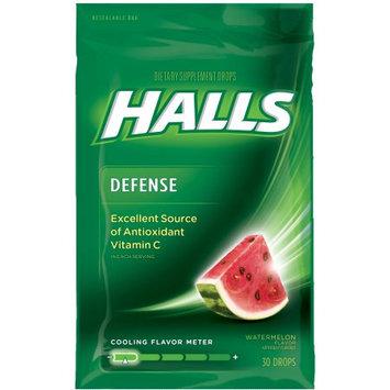 Halls Defense Vitamin C Supplement Drops, Watermelon, 30 ct Bags, 12 pk