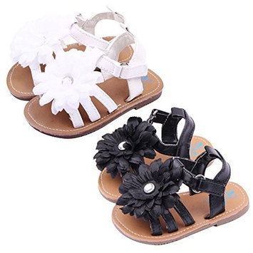 Summer Lovely Infant Baby Girls Toddlers Sandals Shoes with Large Flower Ornament Shiny Rhinestone Black Size 12 Fits Babies Aged 6 to 12 Month