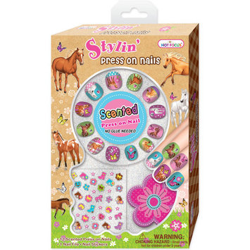 Hot Focus 033EH Scented Stylin' Press-On Nails, Enchanted Horse Design