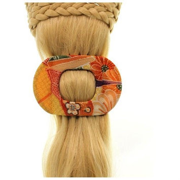 Annie Loto Sudios Jewelry Orange Wide Clip Hair Accessory Style, 2.25 in. - 352A