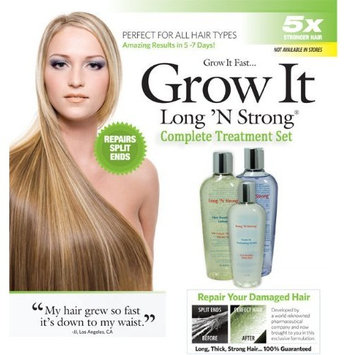 Long 'N Strong - Complete Treatment Set Lotion, Shampoo and Texturizing Serum Longer, Thicker Hair Split End Repair Split End Treatment