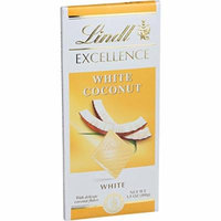 Lindt Chocolate Bar - White Chocolate - Coconut - 3.5 oz Bars - Case of 12 - Yeast Free -