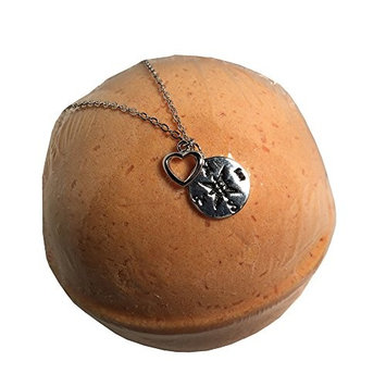 Bath Bomb with a Necklace Surprise Inside Compass Best Friend, Travel, Long Distance, Graduation Valentines Day, Christmas, Birthday, 925 Solid Sterling Silver HUGE 10 OZ Scented in Sandlewood