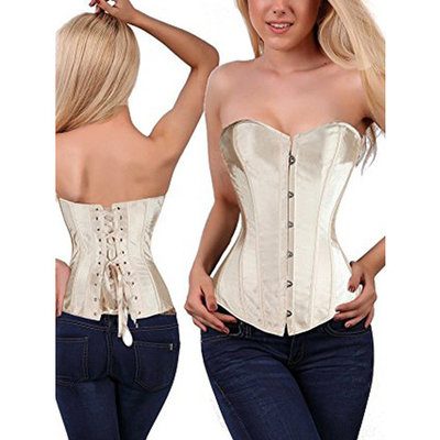 SAYFUT Women's Retro Satin Buckle-Up Body Shaper Overbust Corset Lace Up Ribbon Of Breast Implants Sweet Fume