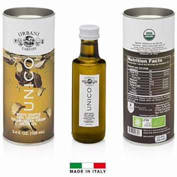 Italian White Truffle Extra Virgin Olive Oil - 3.4 Oz - by Urbani Truffles. Organic Truffle Oil 100% Made In Italy Without Chemicals And With Real Truffle Pieces Inside The Bottle. No Artificial Aroma