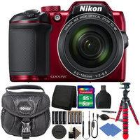 Nikon Coolpix B500 16MP Digital Camera Red + Extra Batteries + Accessories