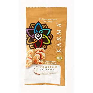 KARMA Premium Dry Roasted and Salted Whole Cashews, Coconut Crunch, 1.5 Ounce, 12 Count