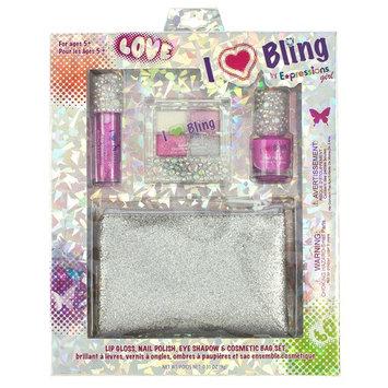Expressions Girl Expression Girl I Love Bling 4-Piece Gift Set - Lip Gloss, Eye Shadow, Nail Polish & Cosmetic Bag