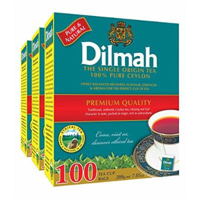 Dilmah Premium 100% Pure Ceylon Tea, 100-Count Tea Bags (Pack of 3) x 6 (Total = 18 Packs)