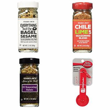 Trader Joe's Everything But The Bagel Sesame Seasoning, Chili Lime Seasoning, 21 Seasoning Salute, and Measuring Spoons