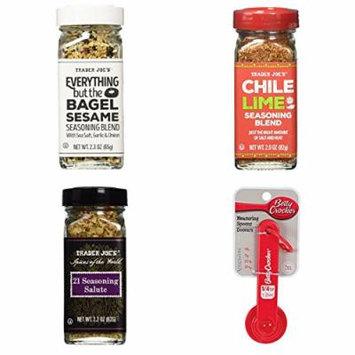 Trader Joe's Everything But The Bagel Sesame Seasoning, Chili Lime Seasoning, 21 Seasoning Salute, and Measuring Spoons