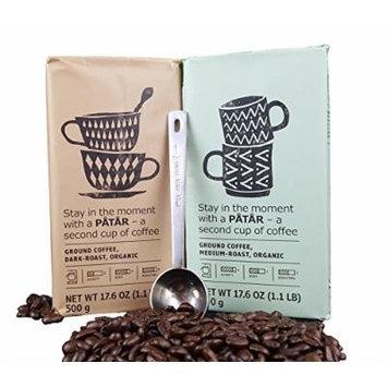 IKEA Ground Coffee, Medium And Dark Roast Variety Pack Bundle - 100% Organic Arabica Coffee - 17.6 Oz Each (Pack of 2 - Total 35.2 oz) With Stainless Steel Measuring Coffee Spoon