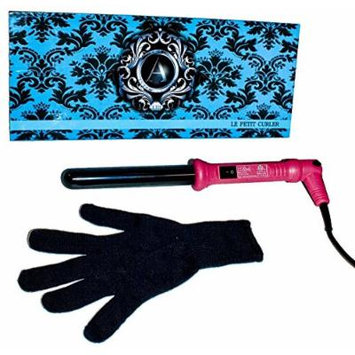 ATALI Curling Iron 25mm with Glove Dual Voltage American Plug 110-240V 60Hz, Hot Pink