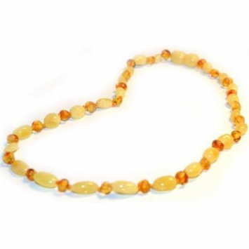 Certified Baltic Amber Teething Necklace for Baby (Butter Bean/Lemon) - Anti-inflammatory ...