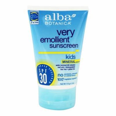 Alba Botanica - Very Emollient Mineral Protection Kids Sunblock Fragrance Free 30 SPF - 4 oz.(pack of 1)