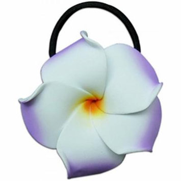 Foam Ponytail Hair Flower Plumeria Lilac & White