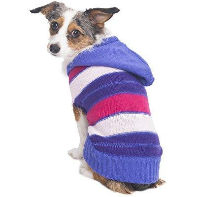 fashion pet hooded striped sweater for pets, x-small, pink