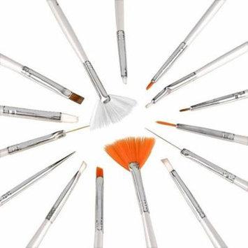Zodaca 15pcs White Nail Art Design Brush Set Dotting Painting Drawing Polish Brush Pen Tools (15 Count)