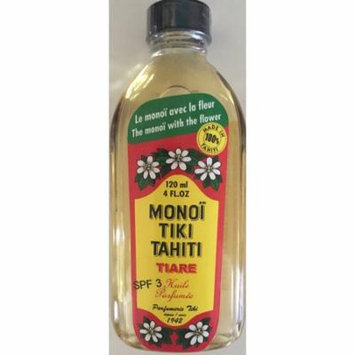 Monoi Tiki Tahiti Tiare with SPF 3 Sunscreen Body Suntan Massage Coconut Oil 4 Fl. oz