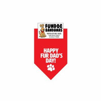 Fun Dog Bandana - Happy FurDad's Day - Miniature Size for Small Dogs, red pet scarf