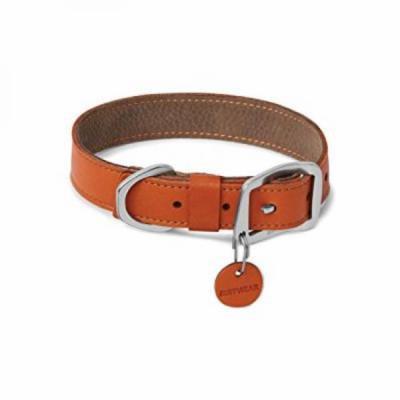 ruffwear - frisco durable, water-resistant leather dog collar, canyonland orange, 14-17