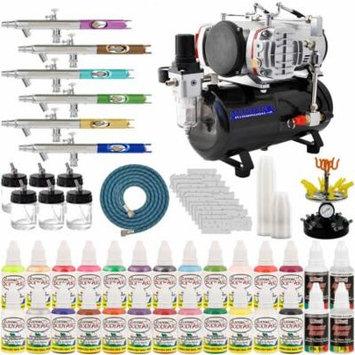 Master Airbrush 6 Airbrush Nail Art Kit with Compressor & 1oz Bottles of Airbrush Paint