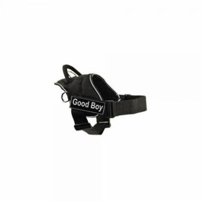 dt fun harness, good boy, black with reflective trim, medium - fits girth size: 28-inch to 34-inch