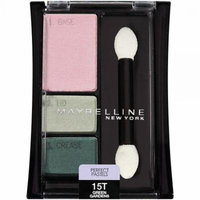 maybelline new york expert wear eyeshadow trios, perfect pastels 15t green gardens, 0.13 ounce