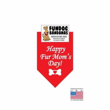 Fun Dog Bandana - Happy Fur Mom's Day - Miniature Size for Small Dogs, red pet scarf