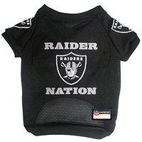 nfl raider nation raglan mesh pet jersey, medium