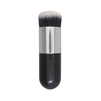 Professional Chubby Pier Makeup Brush Tools Portable Smooth Flat Bb Cream Foundation Eyeshadow Lip Facial Cleaning Brush(Black&Silver)