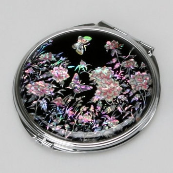 Mother of Pearl Art Deco Engraved Compact Pocket Mirror with Peony and Butterfly Design