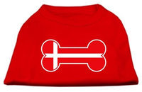 Mirage Pet Products 5112 XLRD Bone Shaped Denmark Flag Screen Print Shirts Red XL 16