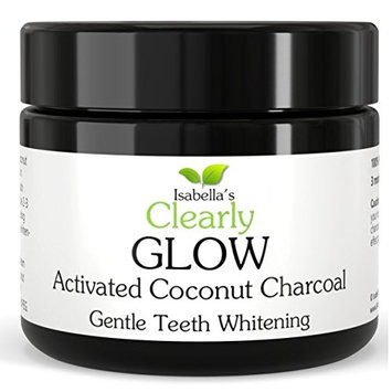 Isabella's Clearly GLOW COCONUT Teeth Whitening Activated Charcoal Powder, 100% Pure Food Grade Non-GMO. Better than Strips, Toothpaste, Bleach. Removes Stains, Plaque. USA (25g, 3 Months Supply)
