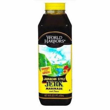 6 Pack : World Harbors, Jamaican Style Jerk Marinade, 16oz Bottle
