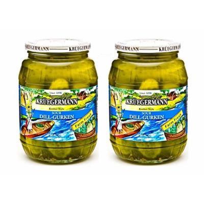 SHIPS FREE Get 2 (32 fl.oz.) Jars of Kruegermann Kosher Sour Dill-Gurken Pickles (64 floz total)