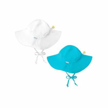 i play Baby and Toddler Brim Sun Protection Hat- White and Aqua - 2 Pack